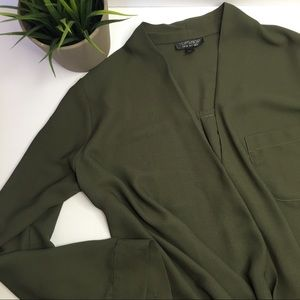 Top shop long sleeve olive green blouse- Size 4